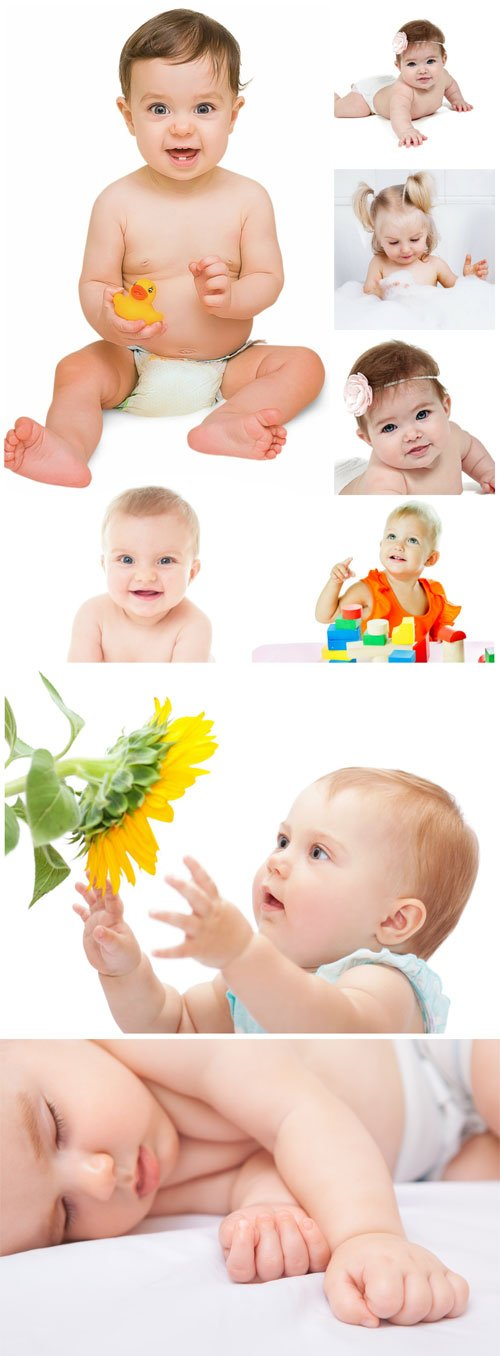 Little kids, child with sunflowers - Stock photo