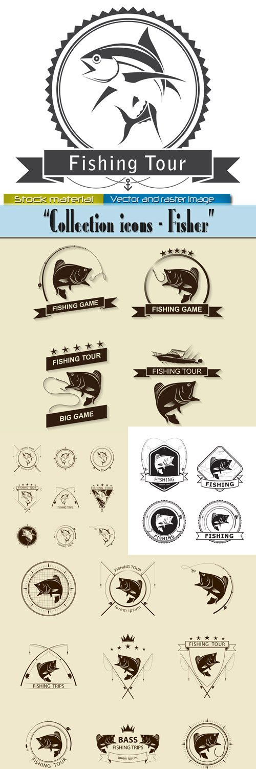 Fishing - Collection of labels and signs in Vector