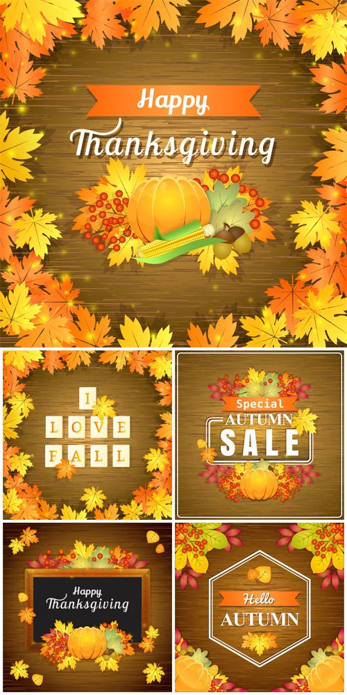 Autumn background vector, yellow leaves on wooden background