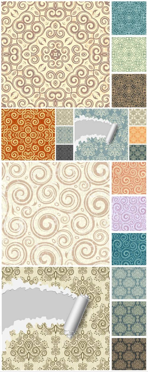 Seamless damask backgrounds, vector