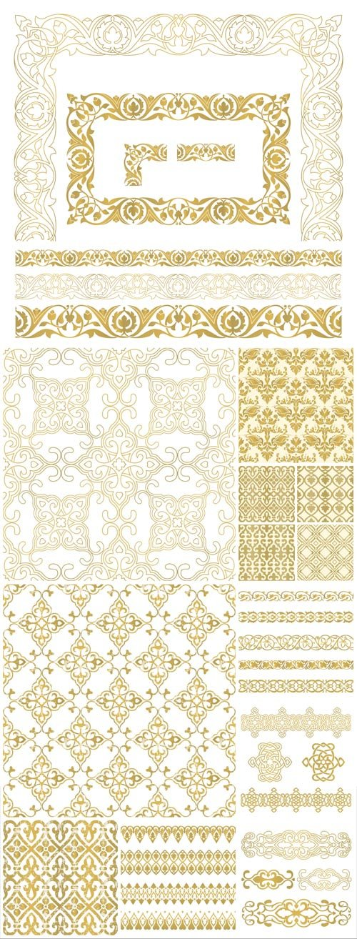 Gold ornaments, borders, backgrounds vector