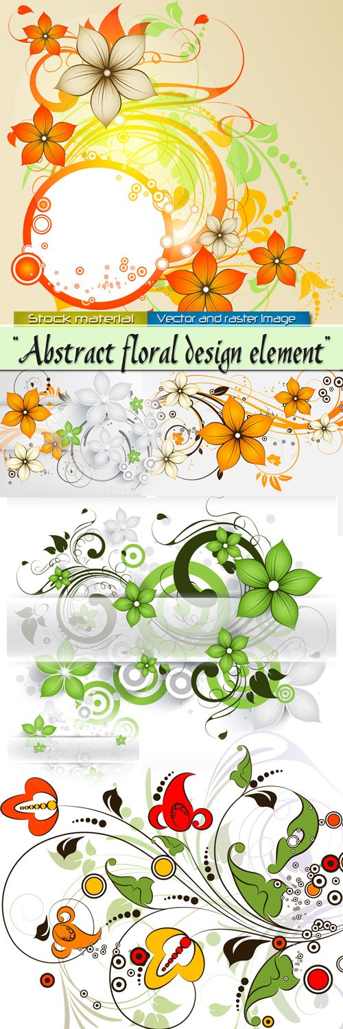 Abstract flower elements for design in Vector
