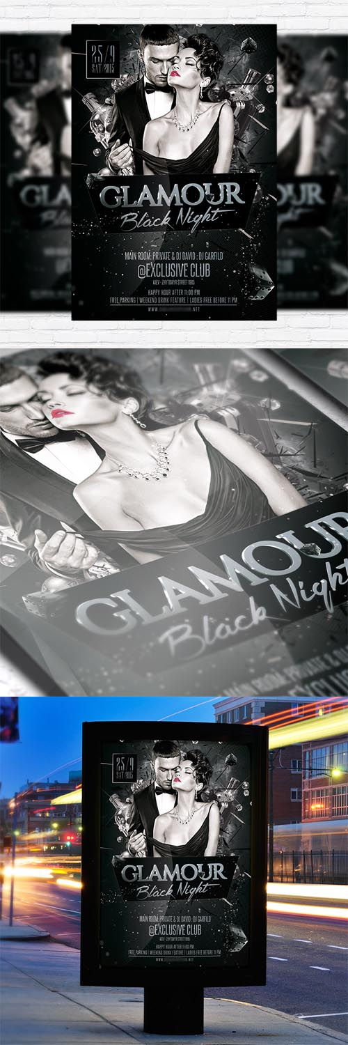 Flyer Template - Glamour Black Night + Facebook Cover