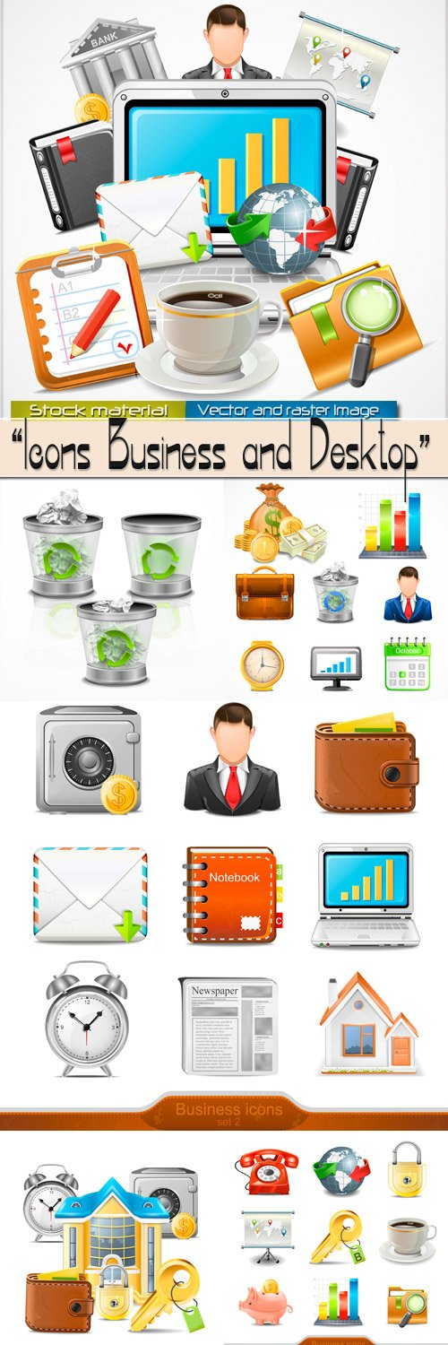 Business and desktop - Collection icons in Vector