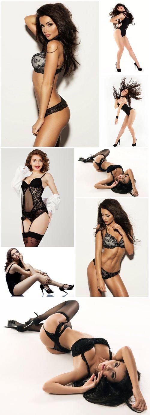 Beautiful women in the bottom black lingerie - Stock photo