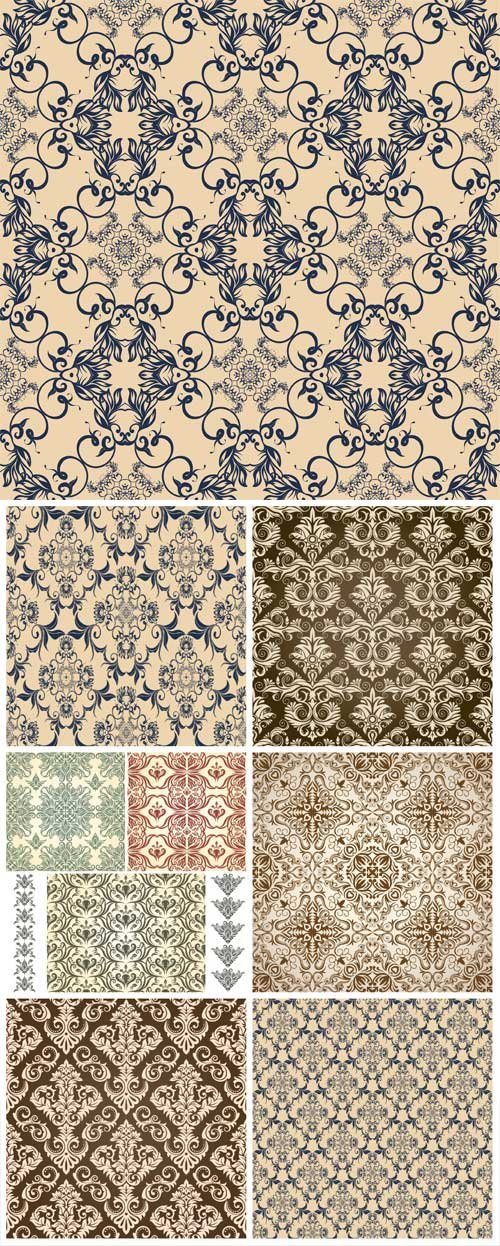 Seamless damask patterns, backgrounds vector