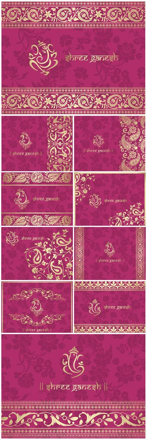 Indian patterns, pink vector backgrounds