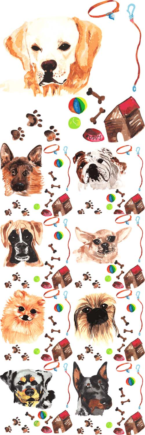 Vector Set - Watercolor Dogs Painted by hand