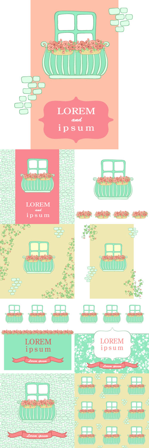 Vectors Set - Balcony with pink flowers