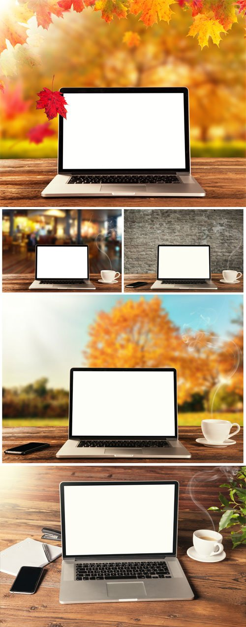 Laptop on different backgrounds - Stock photo