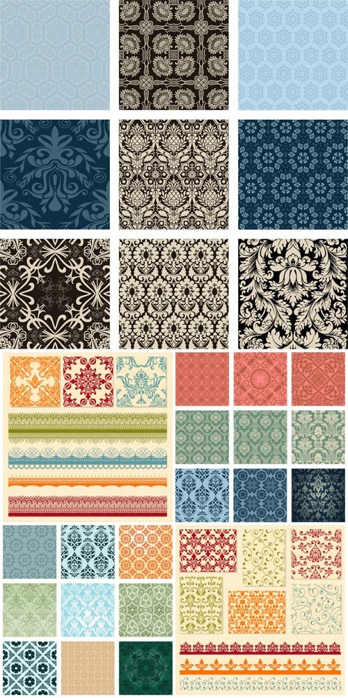 Vintage pattern, vector borders and ornaments