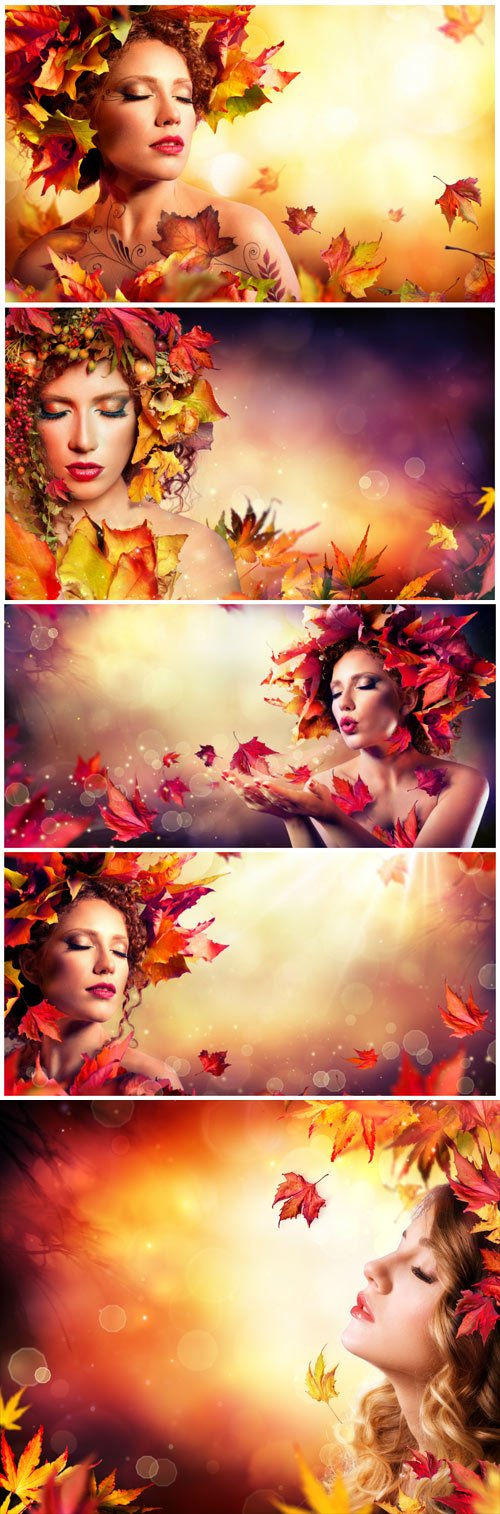 Woman in the autumn wreath - Stock photo