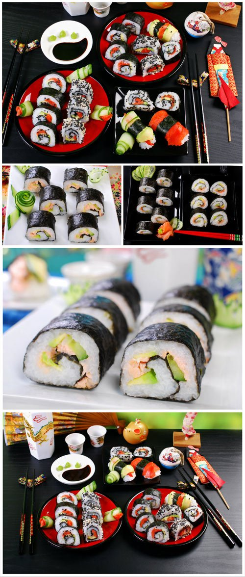 Sushi, soy sauce and wasabi - Stock photo