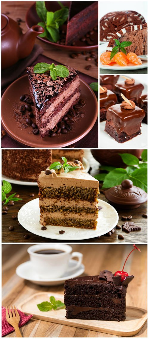 Delicious desserts with chocolate - Stock photo