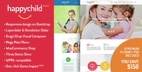 ThemeForest - HappyChild v4.1 - Kindergarten WordPress Theme - 8621832