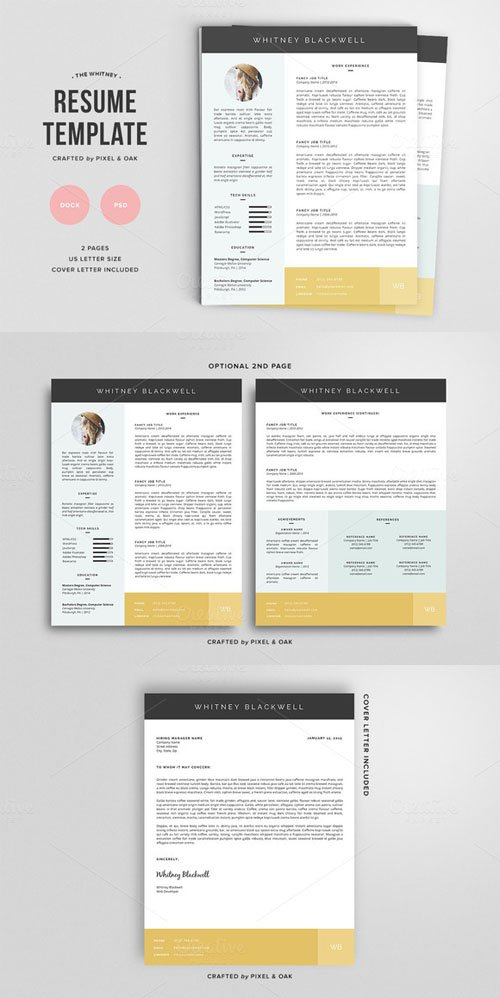 Resume Template | The Whitney 3pk - Creativemarket 135254
