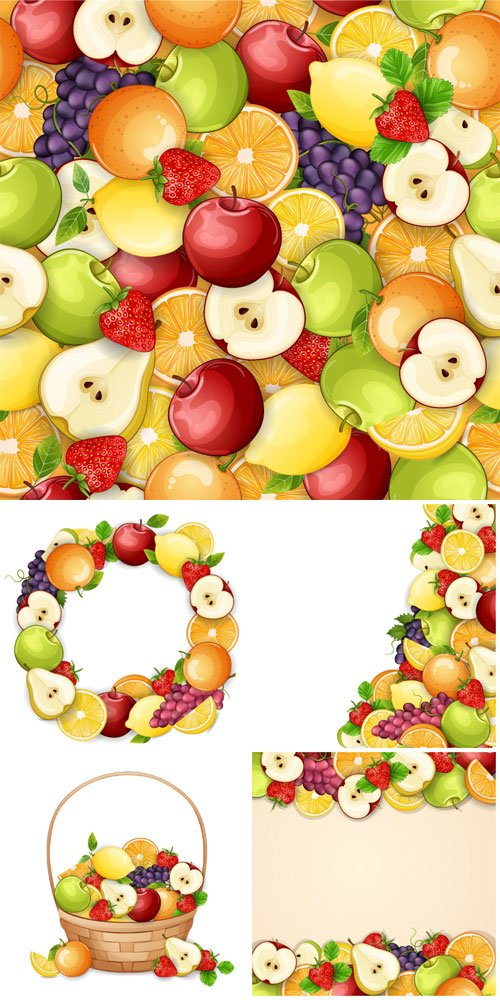Delicious fruits vector illustration