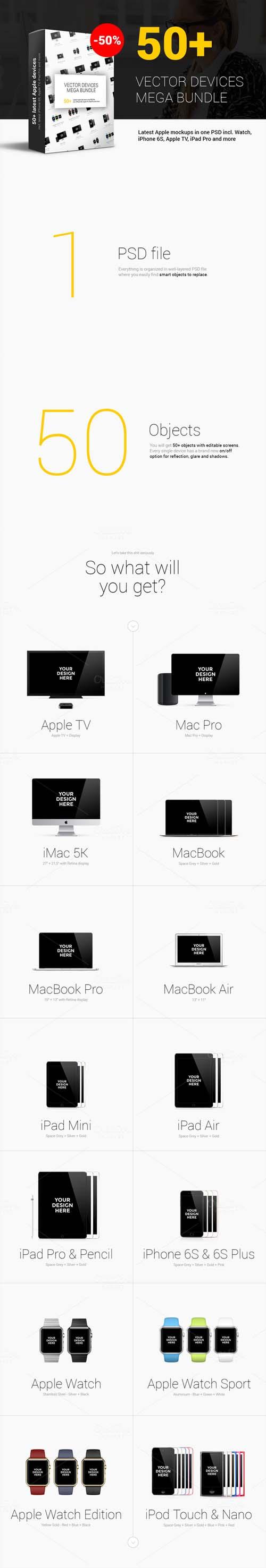 50+ Apple Mockups Mega Bundle