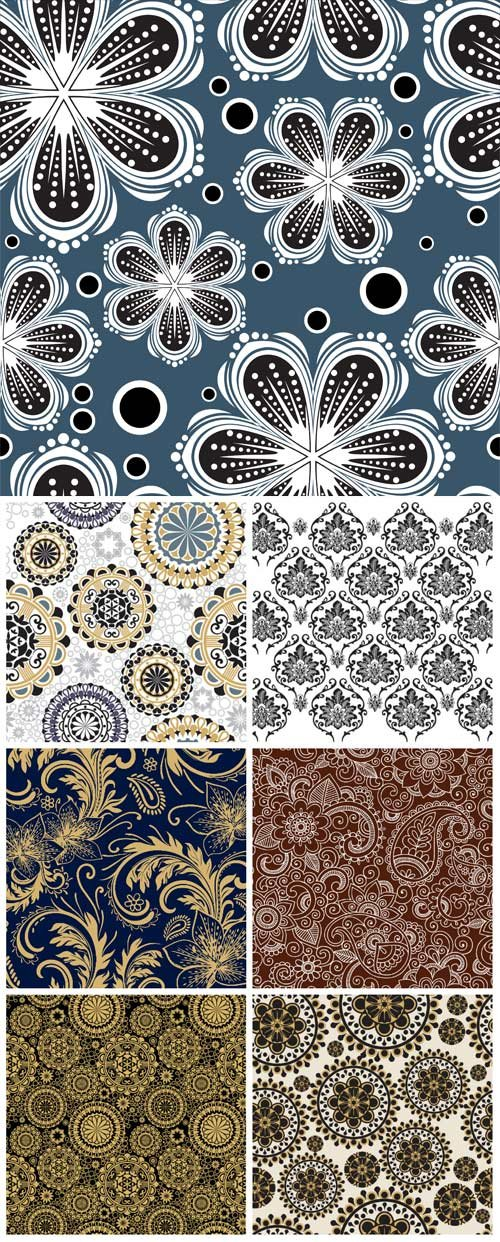 Vintage background with patterns and flowers, vector