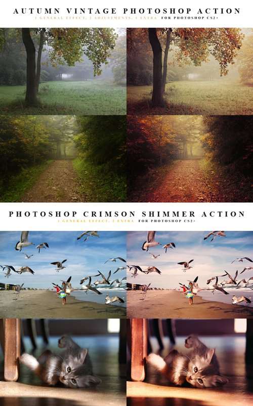 Photoshop Actions - Autumn Vintage & Crimson Shimmer