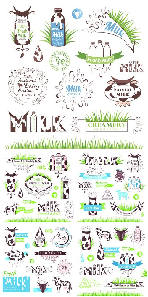 Milk and dairy products badges and labels