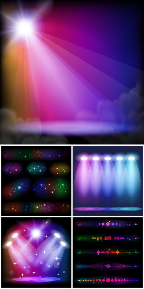 Vector background with spotlights and shining elements
