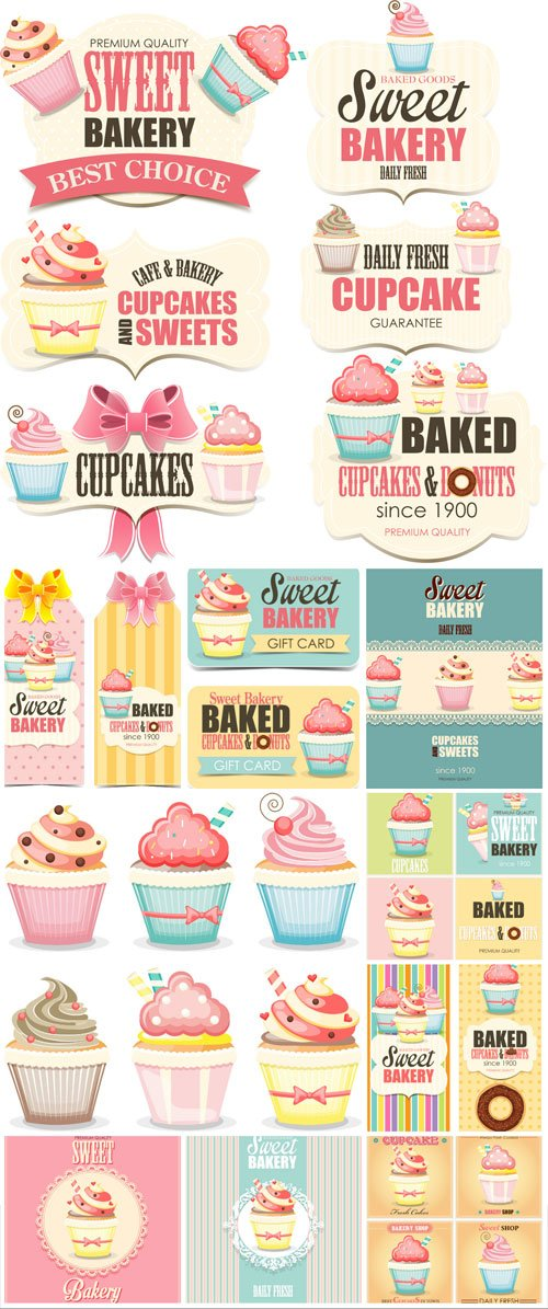 Vector labels and backgrounds with cupcakes