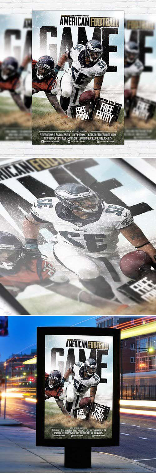 American Football Game Flyer Template + Facebook Cover
