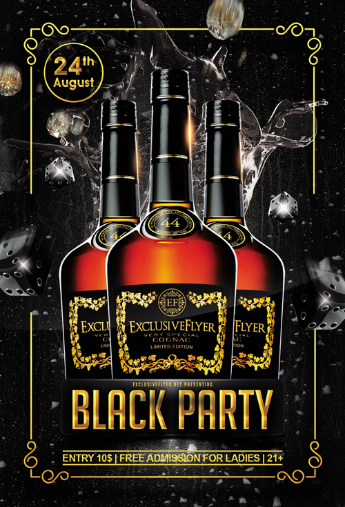Black Party - Flyer Template + Facebook Cover