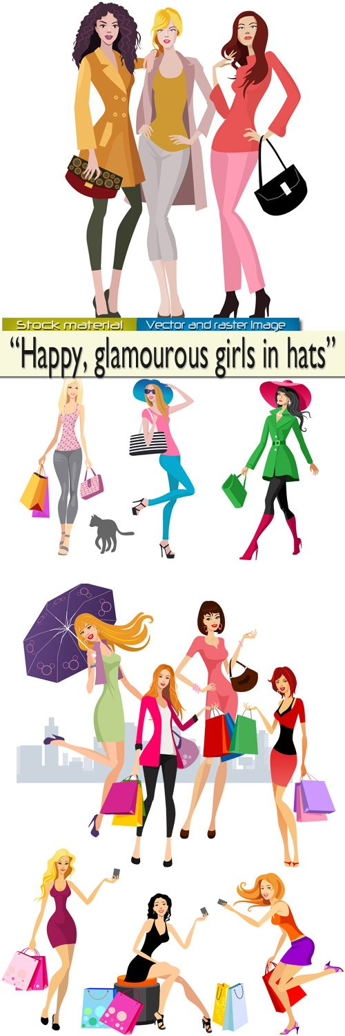 Fashionable girls in hats