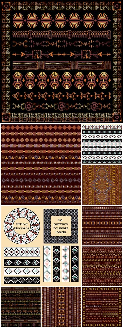 Ethnic patterns, backgrounds vector