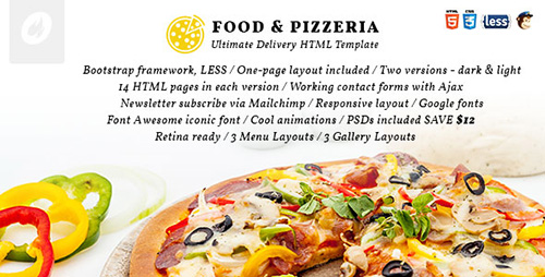 ThemeForest - Food & Pizzeria v1.0 - Ultimate Delivery HTML5 Template - 12534471
