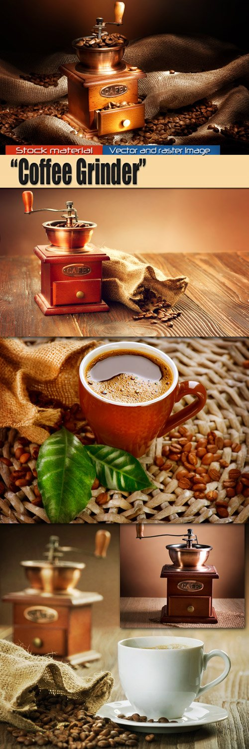 Fragrant coffee grains and mill