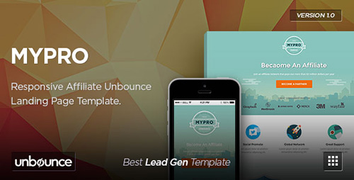 ThemeForest - MyPro v2.0 - Affiliate Unbounce Landing Page Template - 10230707