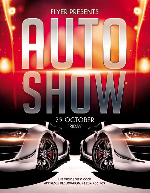 Flyer Template  Auto Show  Facebook Cover  Heroturko Download