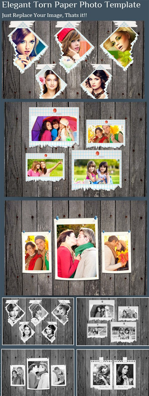 CM - Elegant Torn Paper Photo Frame 395945