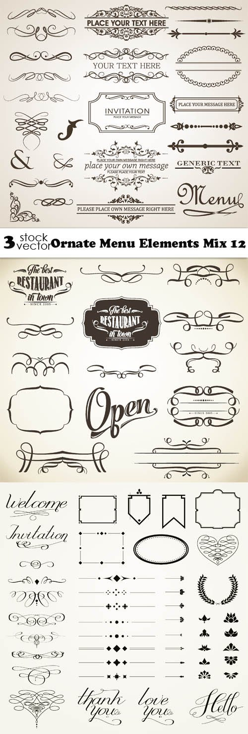 Vectors - Ornate Menu Elements Mix 12