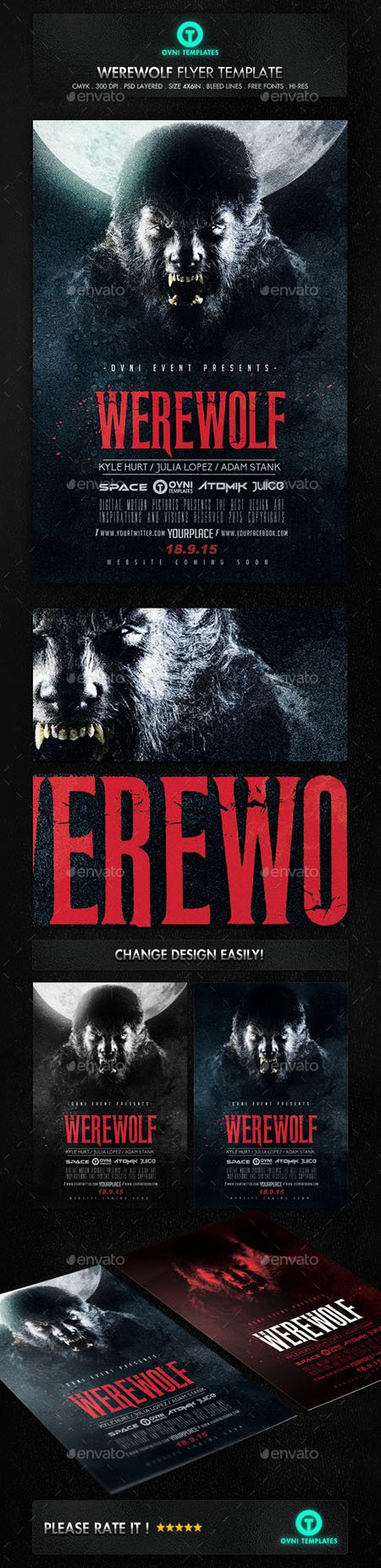 GraphicRiver - Werewolf Dark Horror Movie Flyer Poster Template 12871169