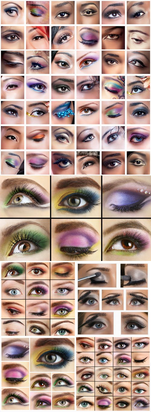 Eyes, images of women of different ethnicities  with creative colorful makeups