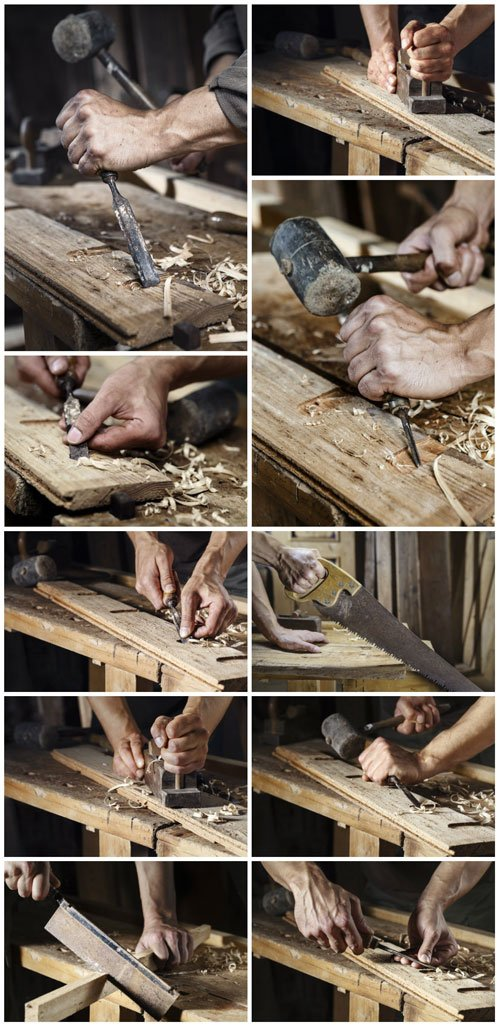 Carpenter, working with a chisel and hammer