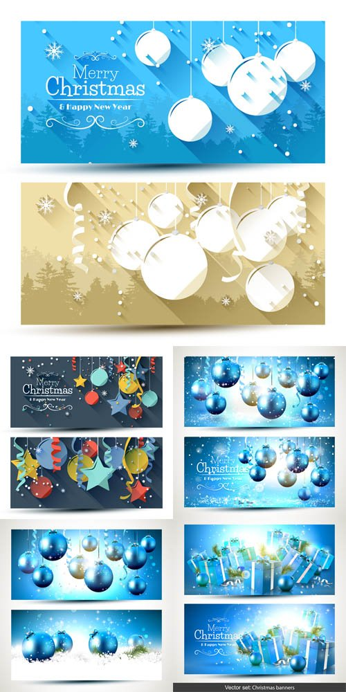 Vector Set - Christmas Blue Luxury Banners