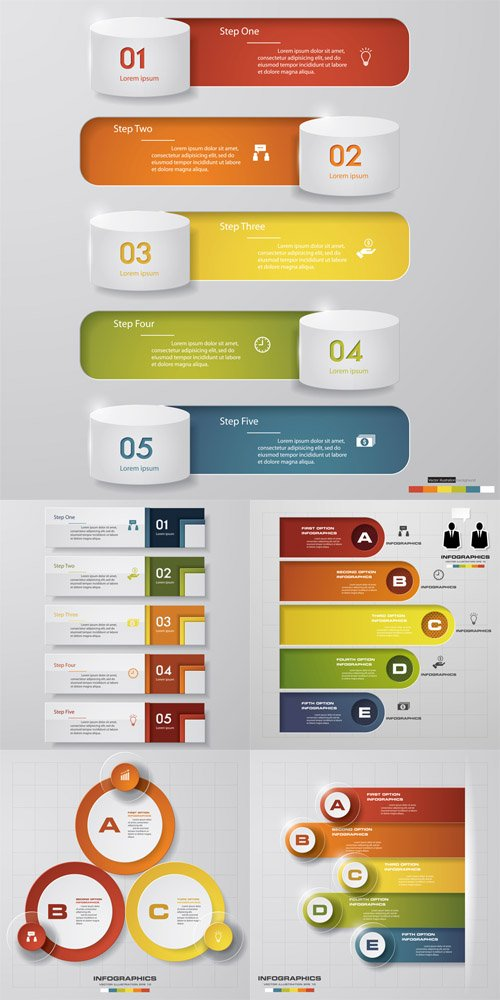 Vector Steps Chart Diagrams Templates Set 2