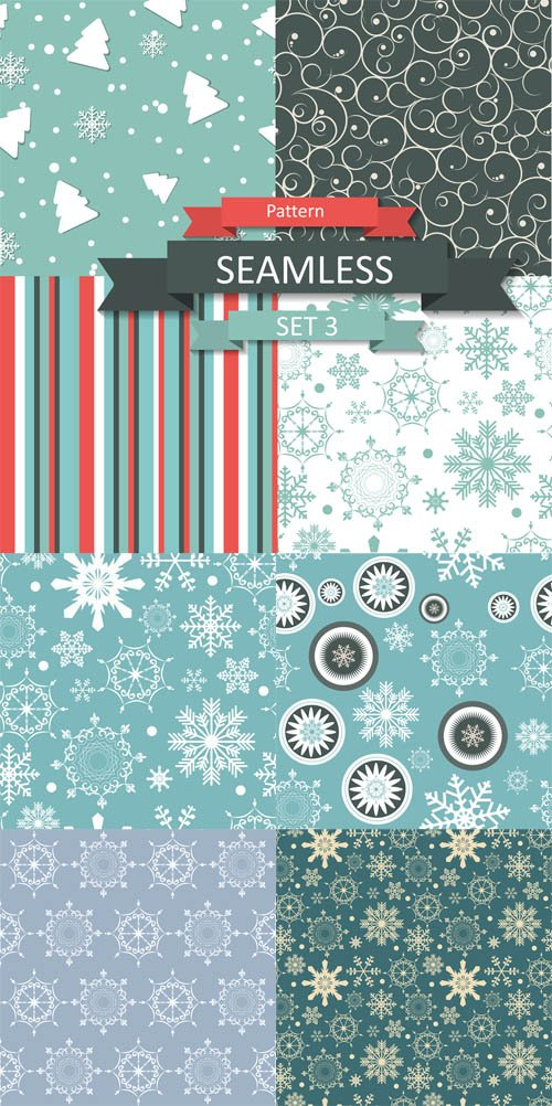 Vector Set - Christmas Pattern with Snowflakes