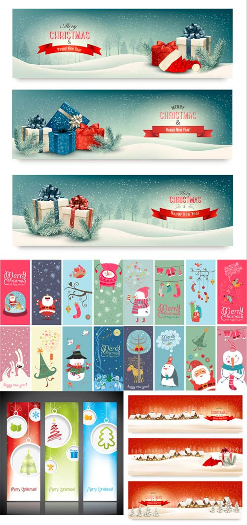 Vector Holiday Christmas Banners Set