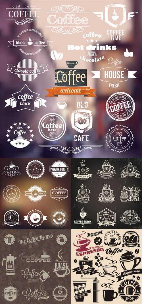 Vector Coffe Shop Vector Labels Symbols Sign