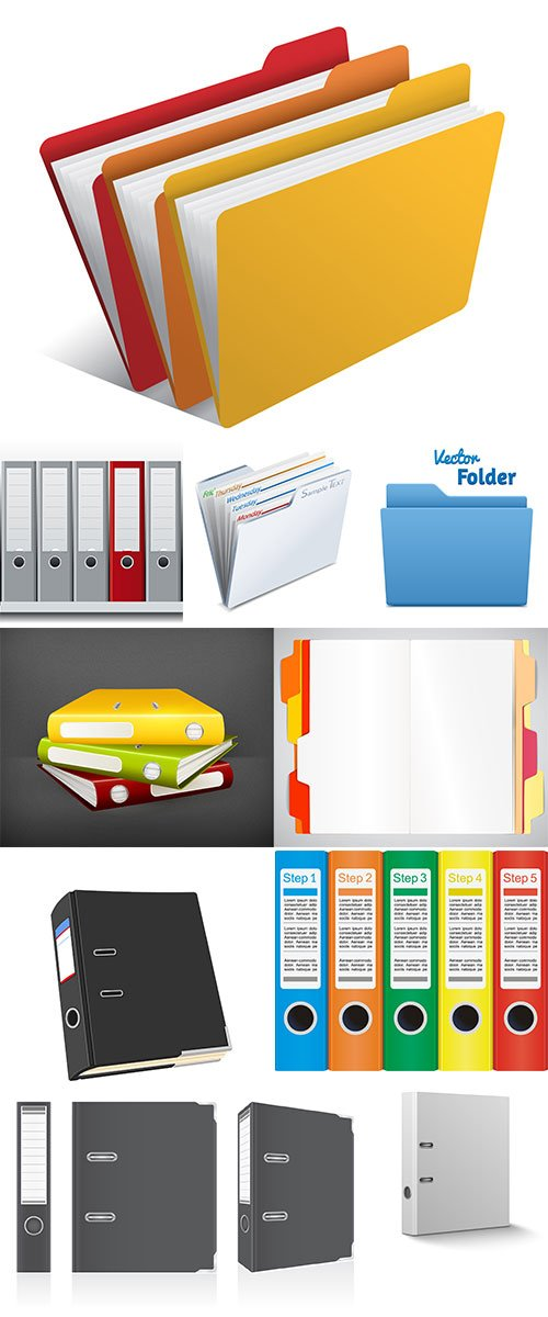 Stock office folders vector