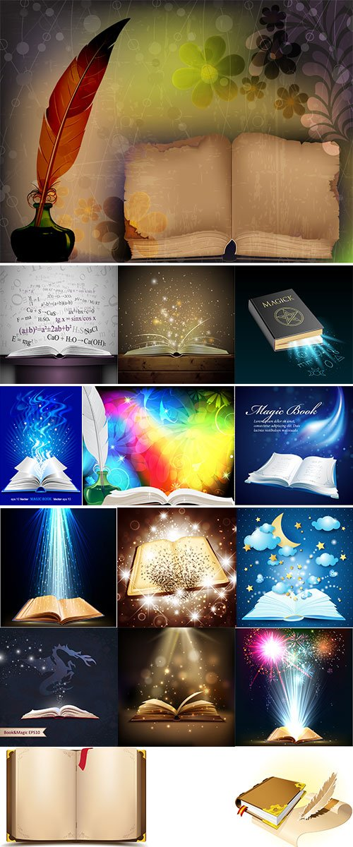 Stock magical book vector