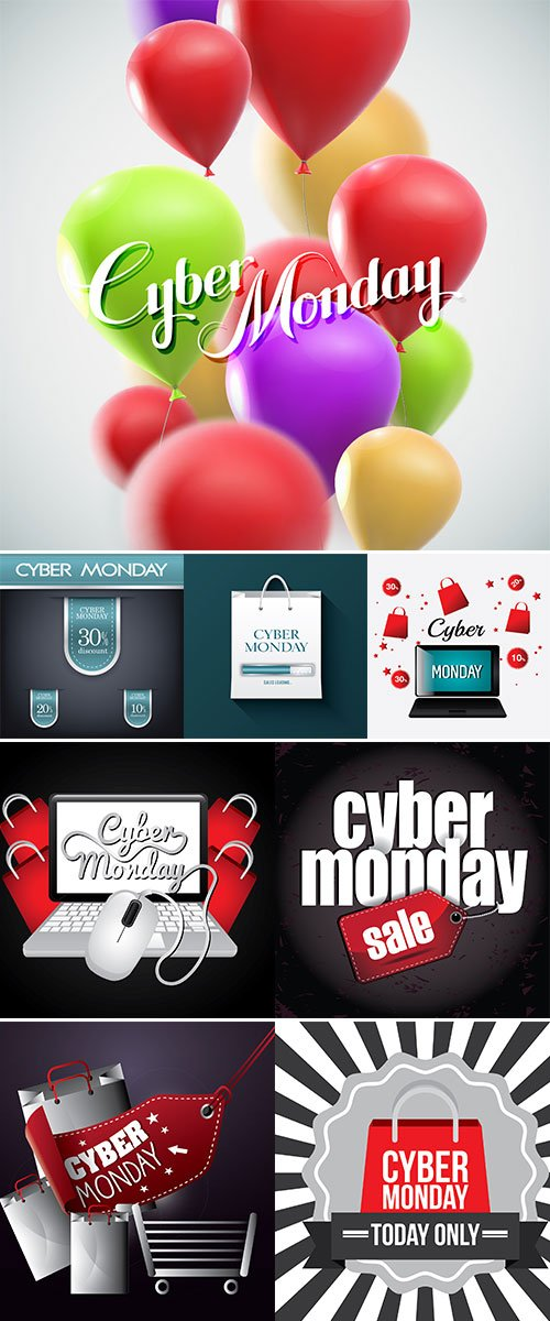 Stock vector Cyber monday shopping season