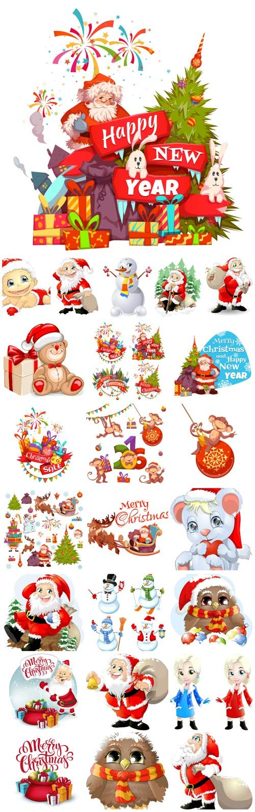 Merry Christmas, New Year vector, Santa Claus, Christmas tree, garland, winter