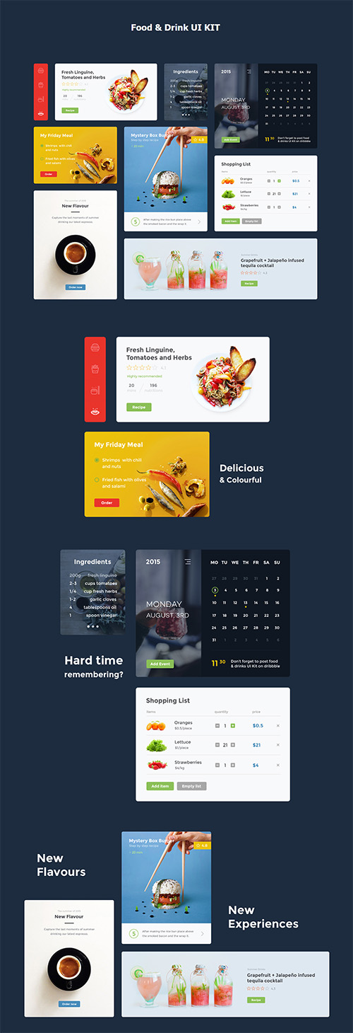 PSD & SCETCH Food & Drink UI Kit 2015